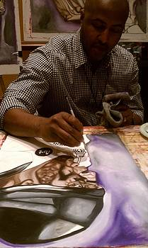 Painting Ray Lewis Live by Lynde Washington