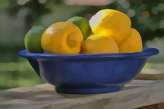 Paintlike Lemons and Limes In Blue Bowl by Michael Flood