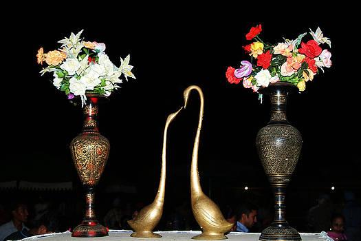 Devinder Sangha - Pair of Ducks and flower pots