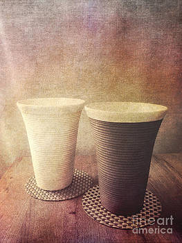Beverly Claire Kaiya - Pair of Earthenware Ceramic Pottery Cups