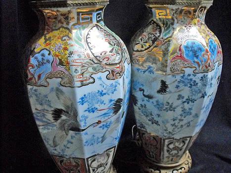 Pair of Japanese Hirado porcelain vases by Anonymous