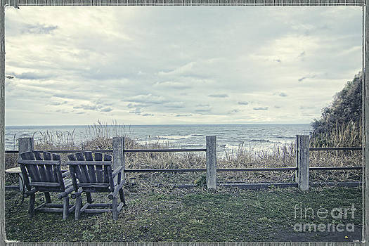 Beverly Claire Kaiya - Pair of Wooden Chairs Overlooking Ocean on a Cold Grey Afternoon