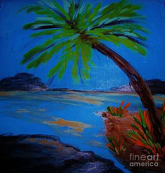 Palm on Rocks by Marie Bulger