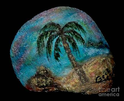 Gail Matthews - PALM SCENE ON A ROCK