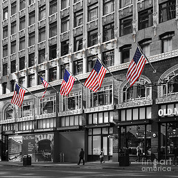 Wingsdomain Art and Photography - Palomar Hotel and Old Navy in Downtown San Francisco - 5D19799 - Black and White and Partial Color