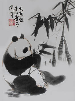 Panda and Bamboo by Yufeng Wang