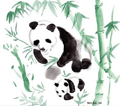 Panda Family by Natalie Rogers