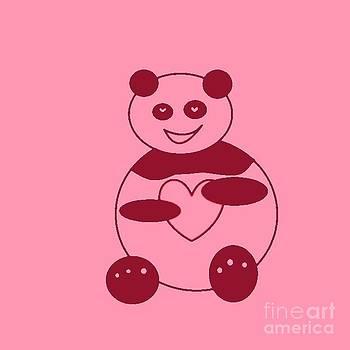 Panda With A Big Heart In Pink 01 by Ausra Huntington nee Paulauskaite