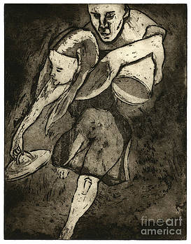 Pandora Opens The Box - Etching - Greek Gods - Mythology - Hope  - Fine Art Print - Stock Image  by Urft Valley Art