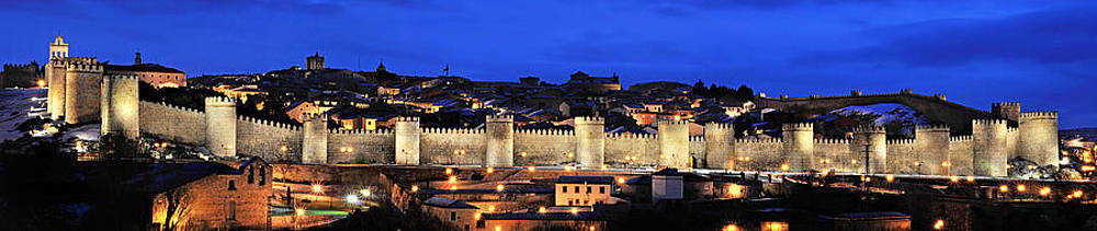 Angela Bonilla - Panorama Avila Spain Wall At Night