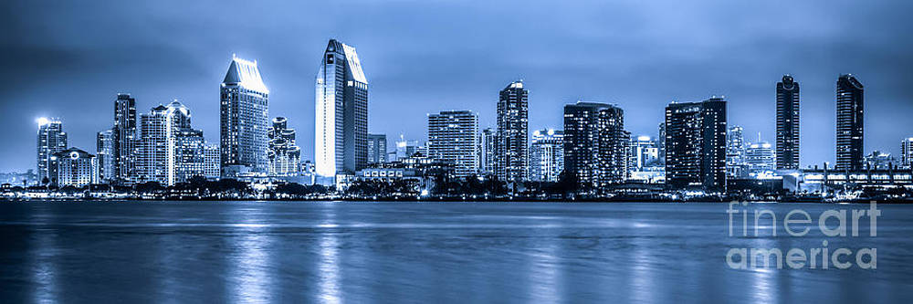 Panorama of Blue San Diego Skyline at Night by Paul Velgos