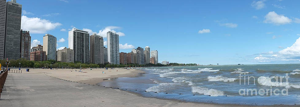 Panorama of Oak Street Beach  Chicago Illinois by Linda Matlow