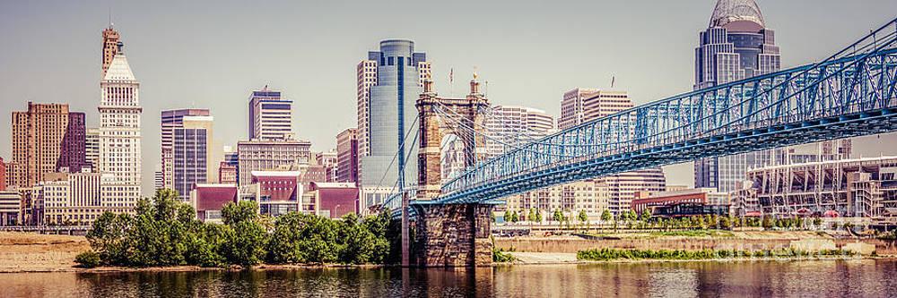 Paul Velgos - Panoramic Cincinnati Skyline Retro Photo