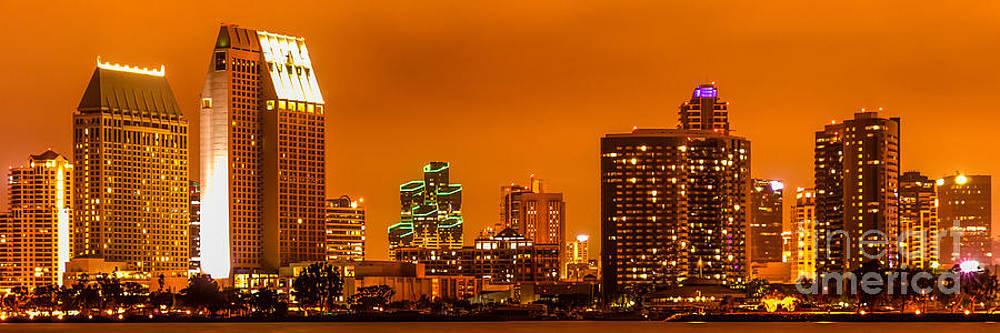 Paul Velgos - Panoramic Picture of San Diego Skyline at Night