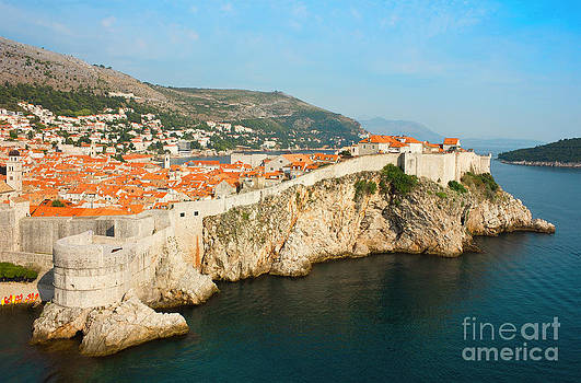 Panoramic sea view of old Dubrovnik with the bay and the city wa by Kiril Stanchev