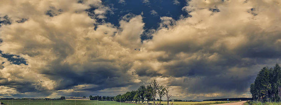 Angela A Stanton - Panoramic Storm Clouds Over Norway
