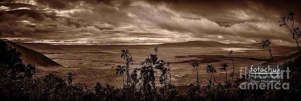 Darcy Michaelchuk - Panoramic View of Ngorongoro Crater BW