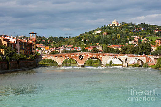 Panoramic view of Ponte Pietra in Verona by Kiril Stanchev