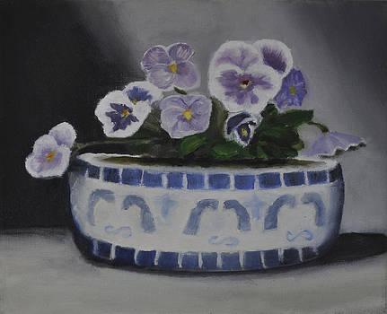 Pansies in Antique Vase by John Moody