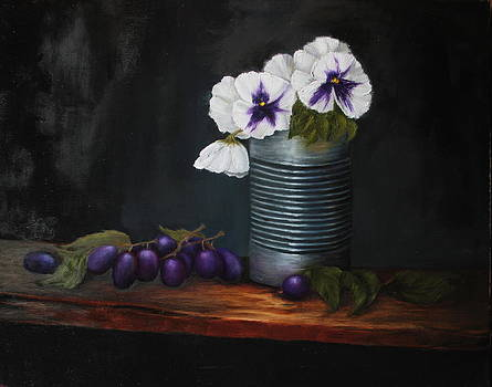 Pansies in Tin Can by DG Ewing