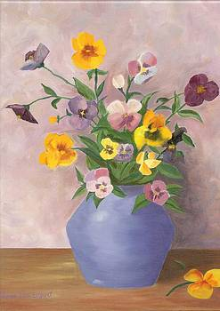 Pansies in Vase by Sara Davenport