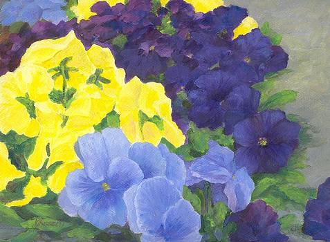 Pansy Garden Bright Colorful Flowers Painting Pansies Floral Art Artist K. Joann Russell by Elizabeth Sawyer