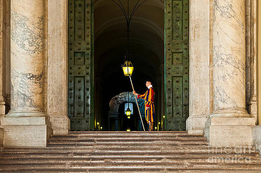 Papal Swiss guard at the Vatican Museums by Luis Alvarenga