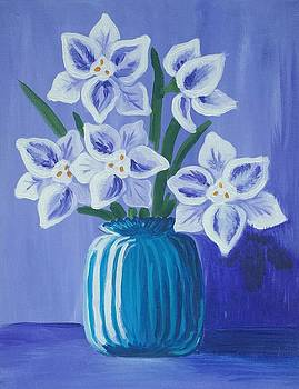 Paper Whites in a Blue Vase by Iamthebetty Tbone
