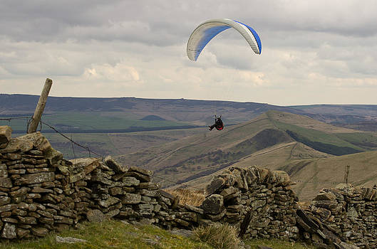 Paraglider over Rushup Edge by Pete Hemington