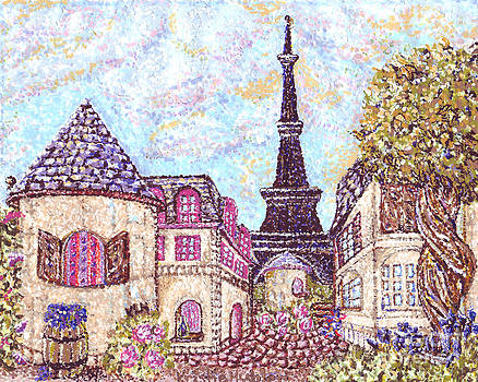 Paris Eiffel Tower Skyline inspired pointillist landscape by Kristie Hubler
