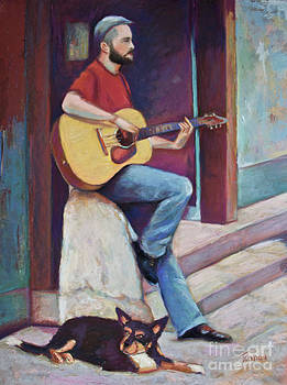 Paris street musician and dog by Joyce A Guariglia