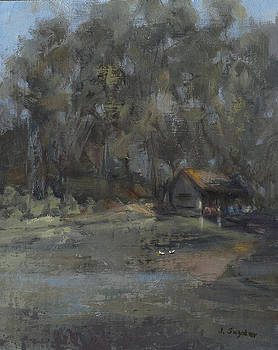 Park Pond and Boat House by Joyce Snyder