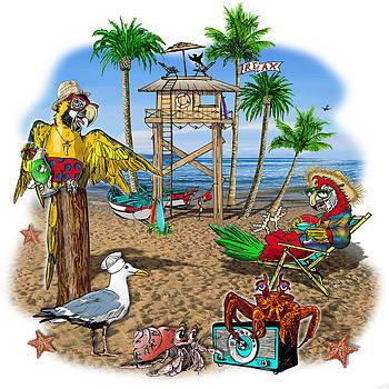 Parrot Beach Party by Doug LaRue