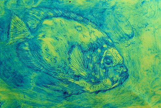 Parrot fish on yellow by David Raderstorf