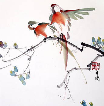 Parrots in pair by Ming Yeung