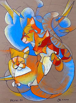 Pastel 51 - Cats by Steve Emery