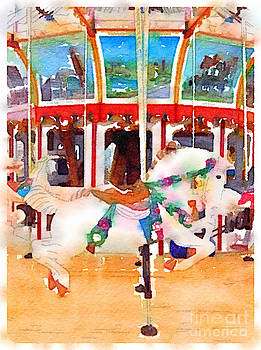 Pastel Carousel Horse Vertical by Janet Dodrill