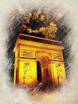 John Malone - Pastel Drawing of the Arc de Triomphe
