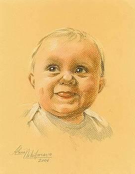 Pastel portrait of baby. Commission. by Alena Nikifarava