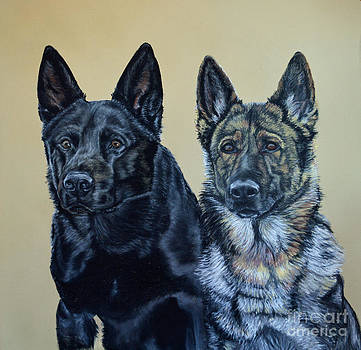 Pastel Portrait of Two German Shepherds by Ann Marie Chaffin