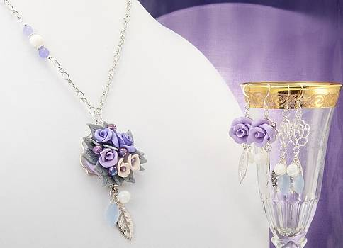 Pastel Rose and Lily Bouquet on Chalcedony Necklace with Two Pairs of Matching Earrings  by WDM Gallery