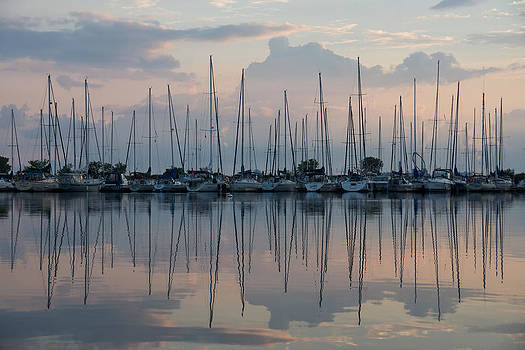 Pastel Sailboats Reflections at Dusk by Georgia Mizuleva