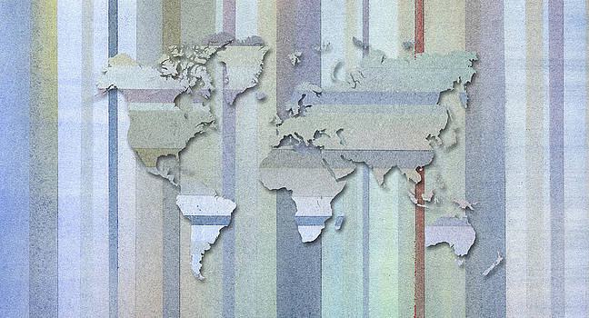Hakon Soreide - Pastel Stripes World Map
