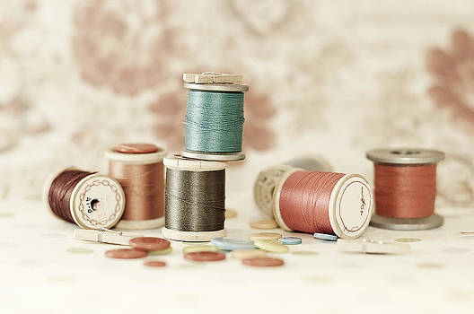 Pastel Threads And Buttons by Sofia Walker