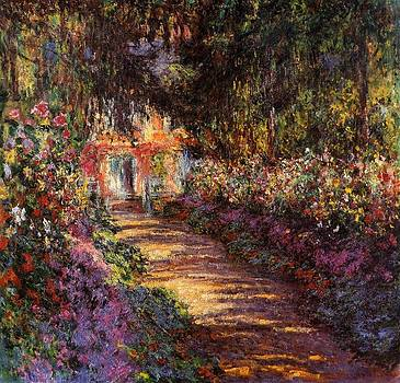 Pathway In Monets Garden In Giverny by Claude Monet
