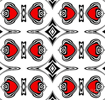 Pattern Black White Red Geometric Abstract Art No.186. by Drinka Mercep