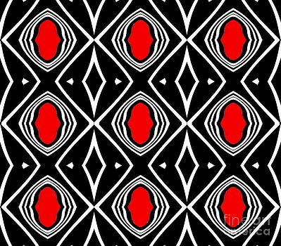 Pattern Geometric Black White Red Art No.391. by Drinka Mercep