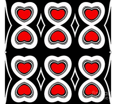 Drinka Mercep - Pattern Hearts Geometric Abstract Black White Red Art No.125