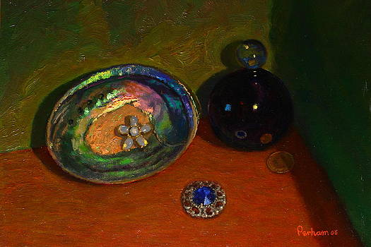 Paua with scent bottle. by Terry Perham
