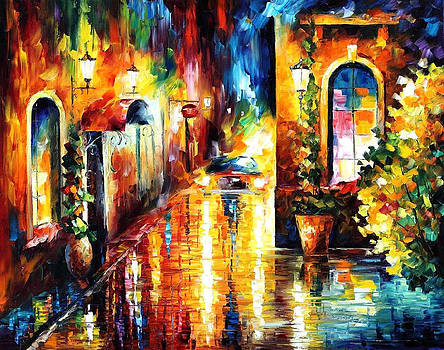 Paying A Visit - PALETTE KNIFE Oil Painting On Canvas By Leonid Afremov by Leonid Afremov